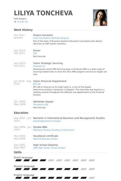 Project Assistant Resume samples - VisualCV resume samples database