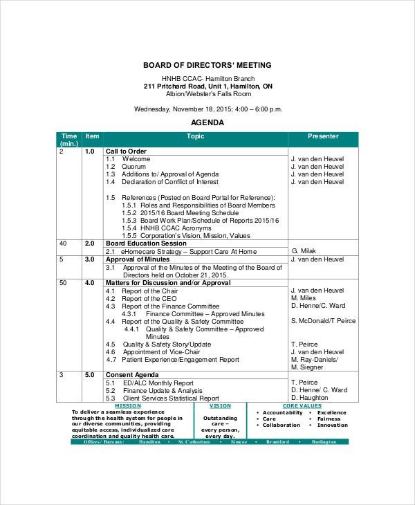 Board of Directors Meeting Agenda Template – 8+ Free Word, PDF ...