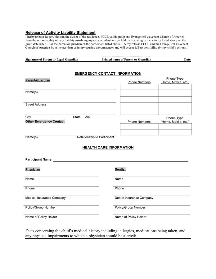 Permission Slip Template in Word and Pdf formats - page 2 of 3