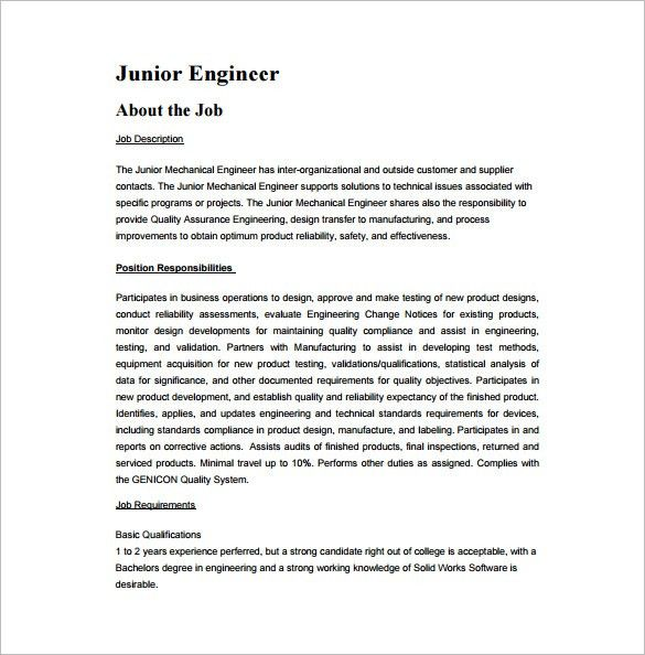 Design Engineer Job Description. Free Resume Example For .