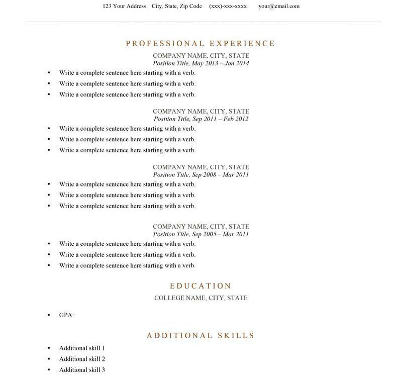 Classy Resume Outline Example 10 Free Resume Samples Writing ...