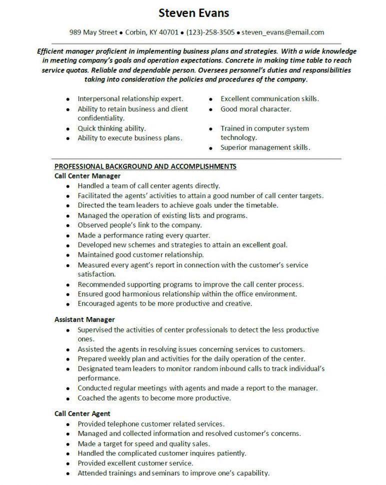 Call Center Supervisor Resume Supervisor Resume Call Center Resume ...