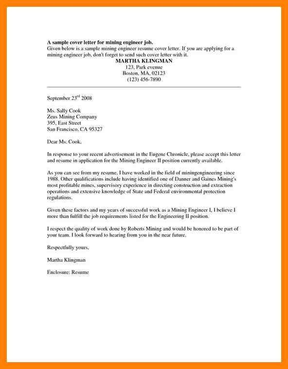 Application letter mining job