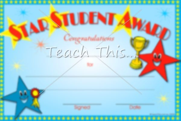 Star Student Award - Printable Classroom Student Awards and ...