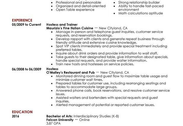 hostess resume sample host hostess food and restaurant john rogers ...