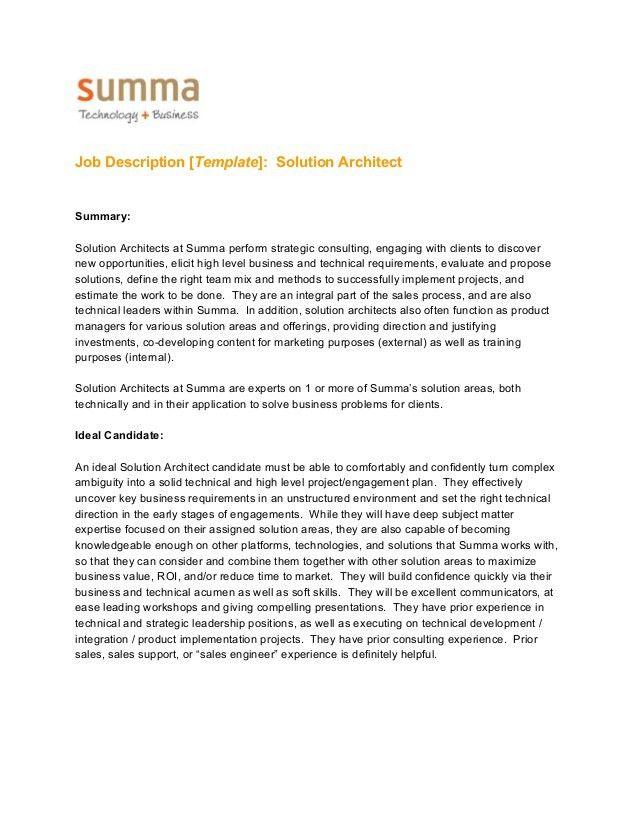 Job Description Template - Solution Architect