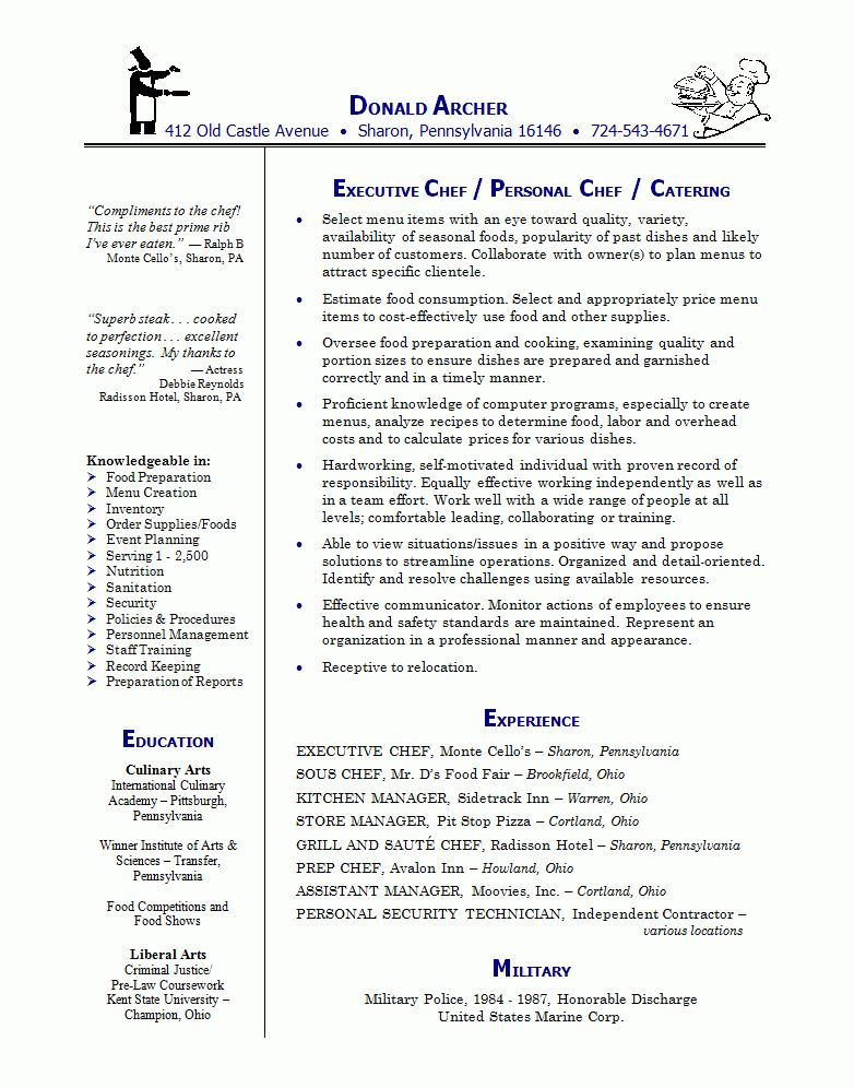 chef resume sample. sous chef resume example culinary resume ...