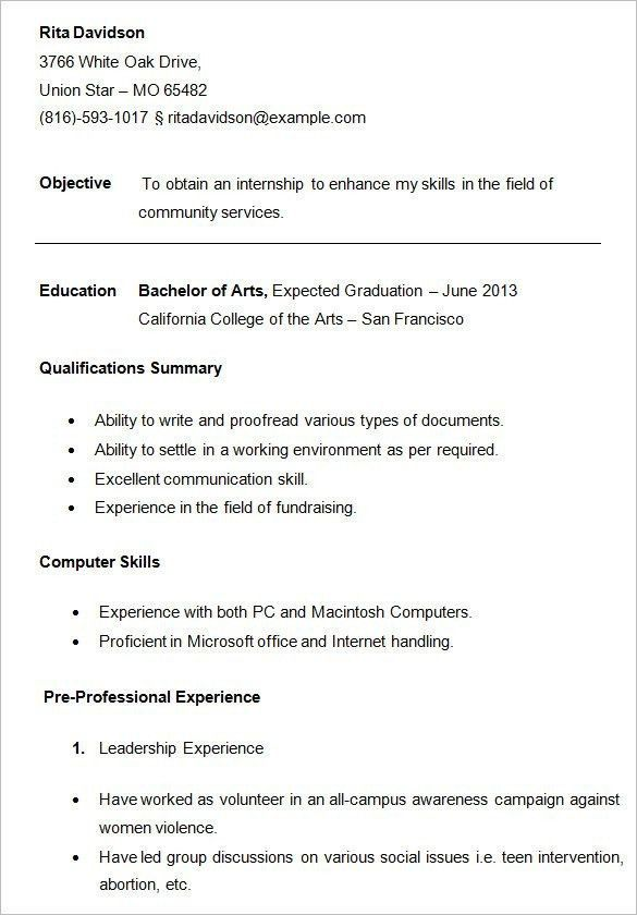 College Resume Outline - Best Resume Collection