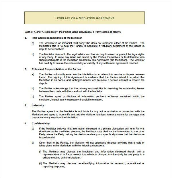 Sample Divorce Agreement. Mediation Agreement Template Mediation ...