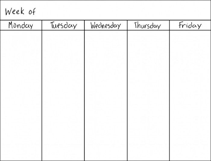5 Day Calendar Template Word * Calendar Printable Template