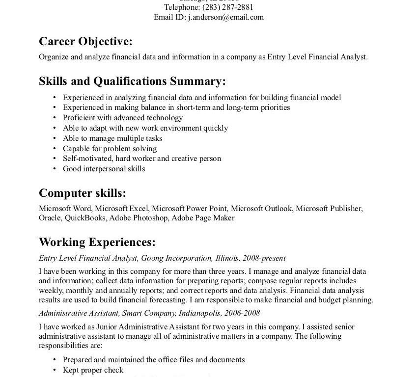 Basic Objectives For Resumes - Resume CV Cover Letter