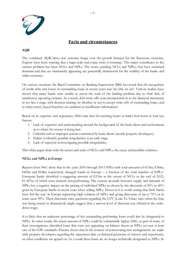 HIG White Paper Non Performing Loans of Banks