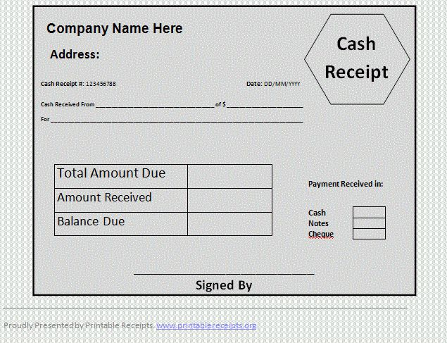 7+ printable cash receipt | Expense Report