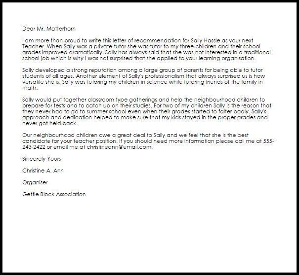 Teacher Recommendation Letter | Recommendation Letters | LiveCareer