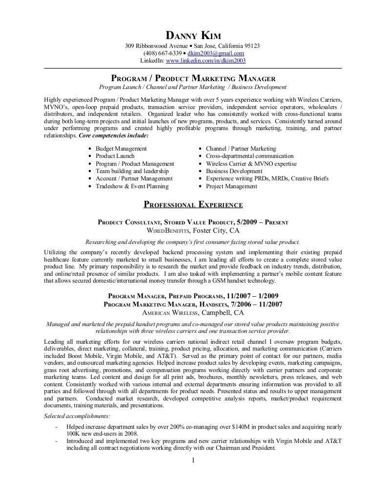 Resume: Program/Product Marketing Manager, Retail Marketing