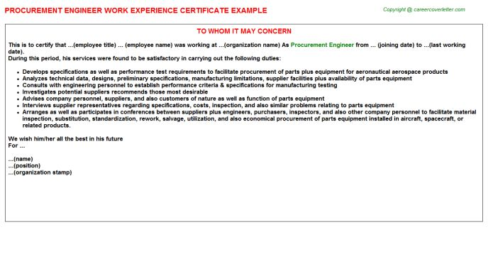 Procurement Engineer Work Experience Letters