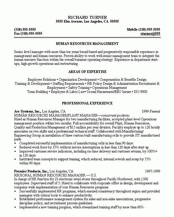 hr manager sample resume interesting. chronological resume sample ...