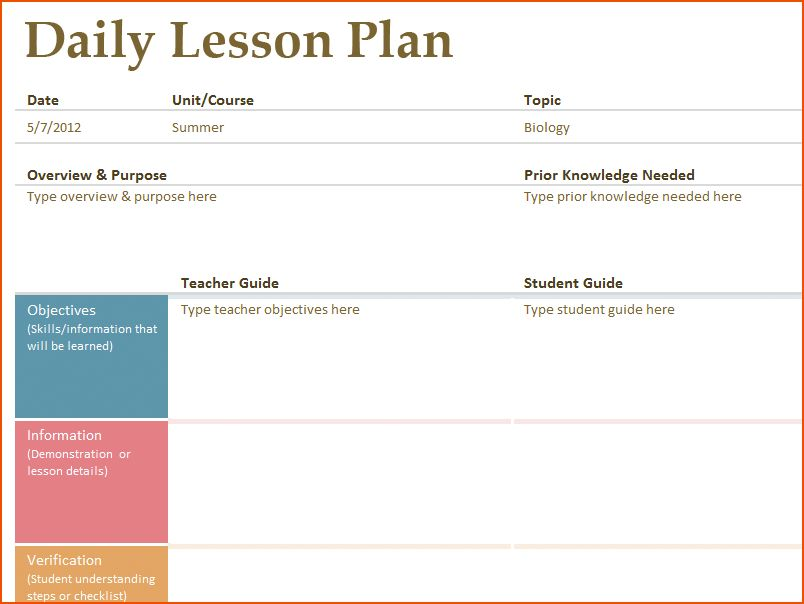 8+ free printable lesson plan template - bookletemplate.org