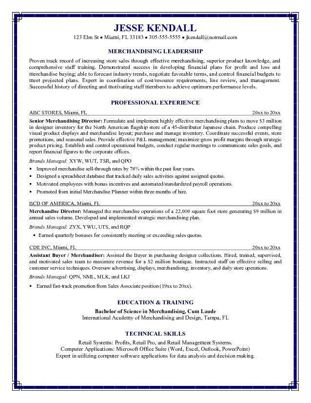 Free Merchandising Director Resume Example