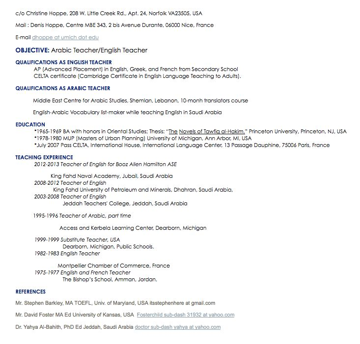 arabic teacher resume sample - http://resumesdesign.com/arabic ...