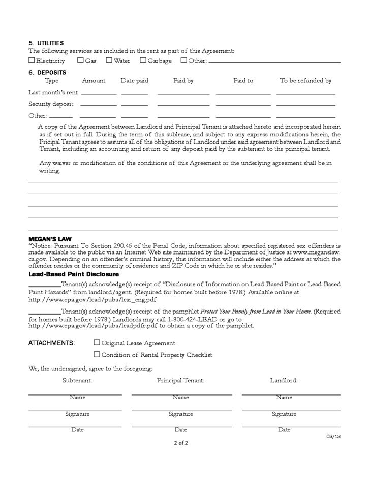 California Sublease Agreement Form Free Download