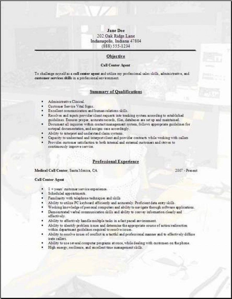 Sample Resume For Call Center Agent Fresh Graduate - Templates