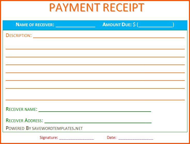 9+ payment receipt template | Survey Template Words