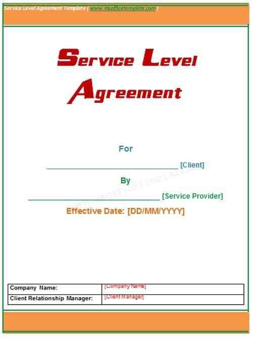 Microsoft Office TemplatesService Level Agreement Template