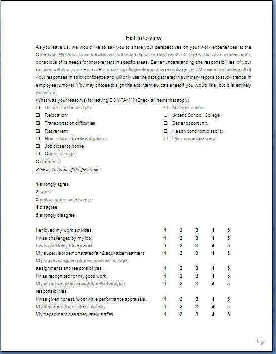 Exit Interview Template] Exit Interview Form Template Sample Form ...