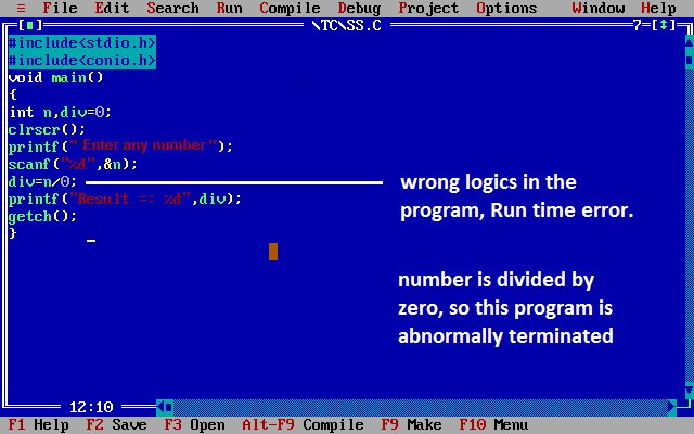 Errors in C, Types of Error