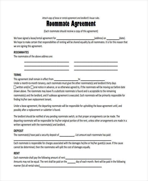 8+ Sample Roommate Agreements - Free Sample, Example, Format Download