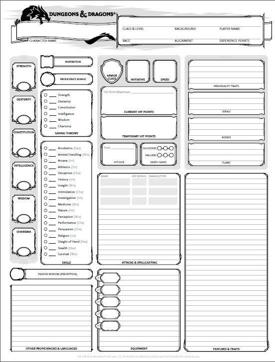 dungeons and dragons character sheet 5th ed | Get It Here: Wizards ...