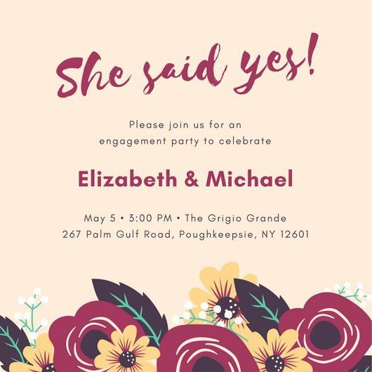 Plum and Yellow Floral Engagement Party Invitation - Templates by ...