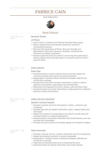 Personal Trainer Resume samples - VisualCV resume samples database