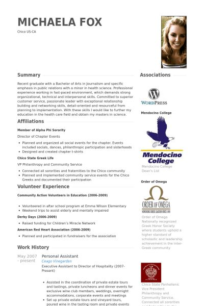 Personal Assistant Resume samples - VisualCV resume samples database