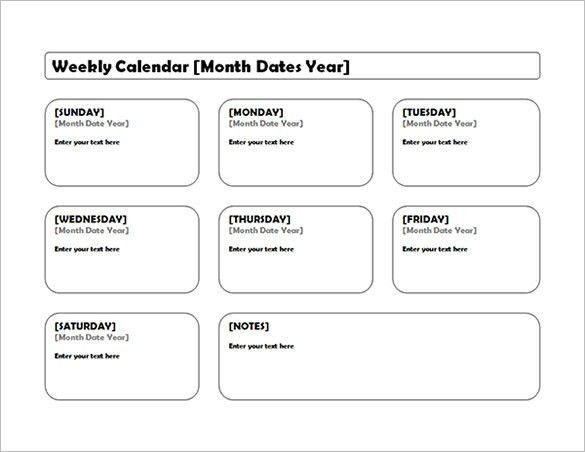Excel Weekly Calendar. On Call Schedule Templates On Call Schedule ...