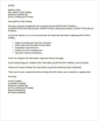Employment Reference Letter - 8+ Free Sample, Example, Format Download