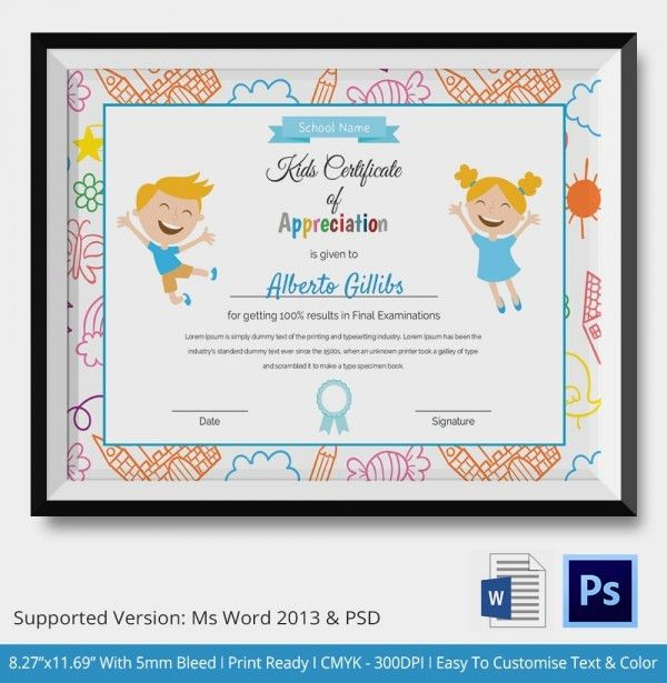 Kids Certificate Templates - 8+ Free PDF, PSD, Vector Format ...