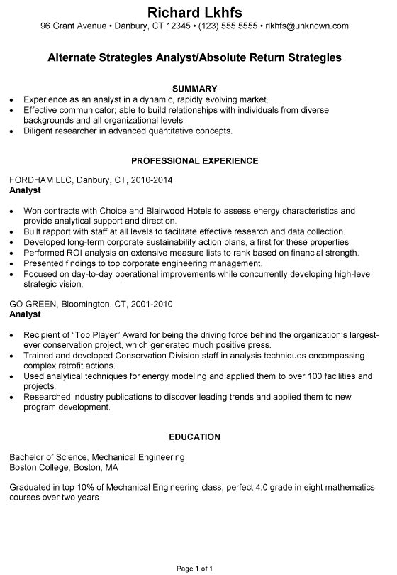 Resume Example for an Investment Analyst - Susan Ireland Resumes