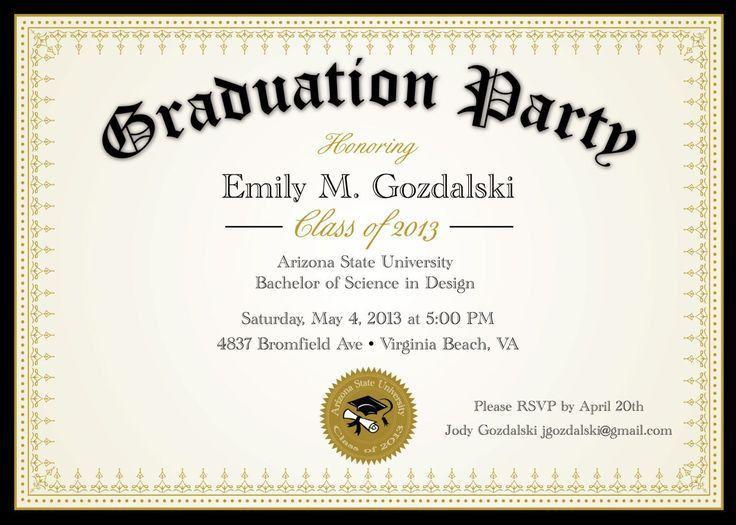 31 best graduation invitation templates images on Pinterest ...
