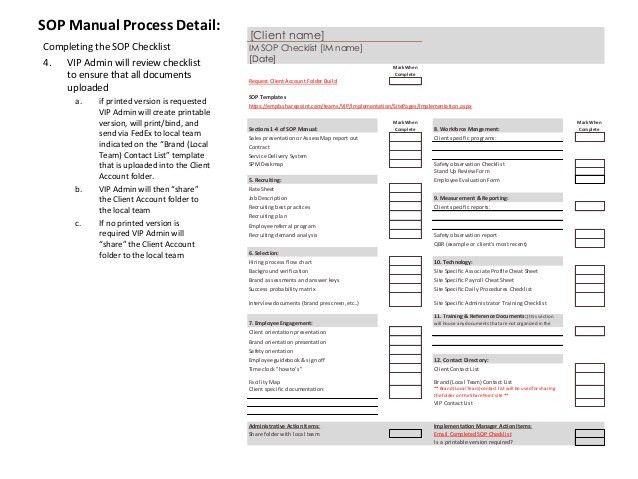 SOP Manual Process Flow Chart