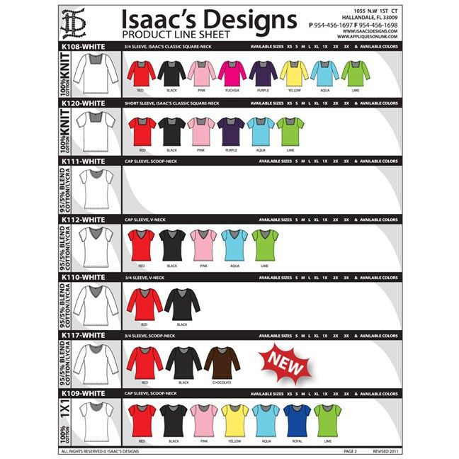 Product Line Sheet, Isaacs Designs