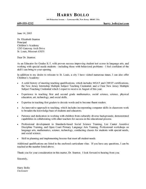 Teacher Cover Letter. Cover Letter Example 4 Elementary Teacher ...