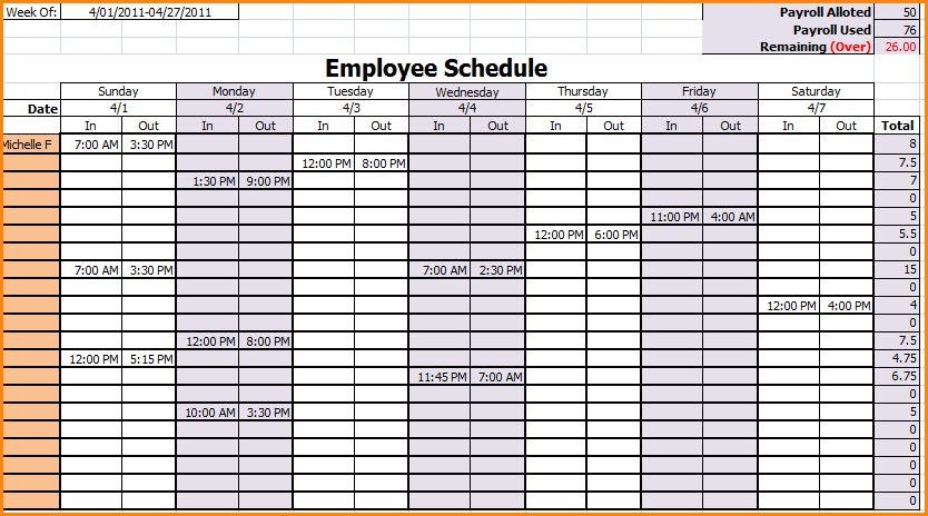 10+ excel employee schedule template weekly | receipts template