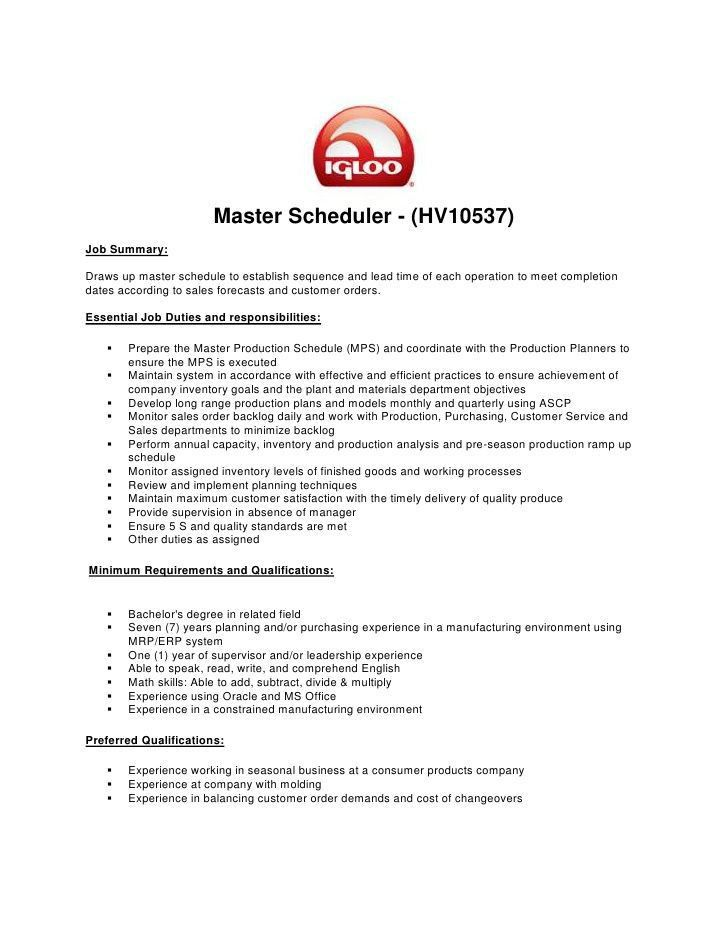 scheduler resume master scheduler hvjob summarydraws up master ...