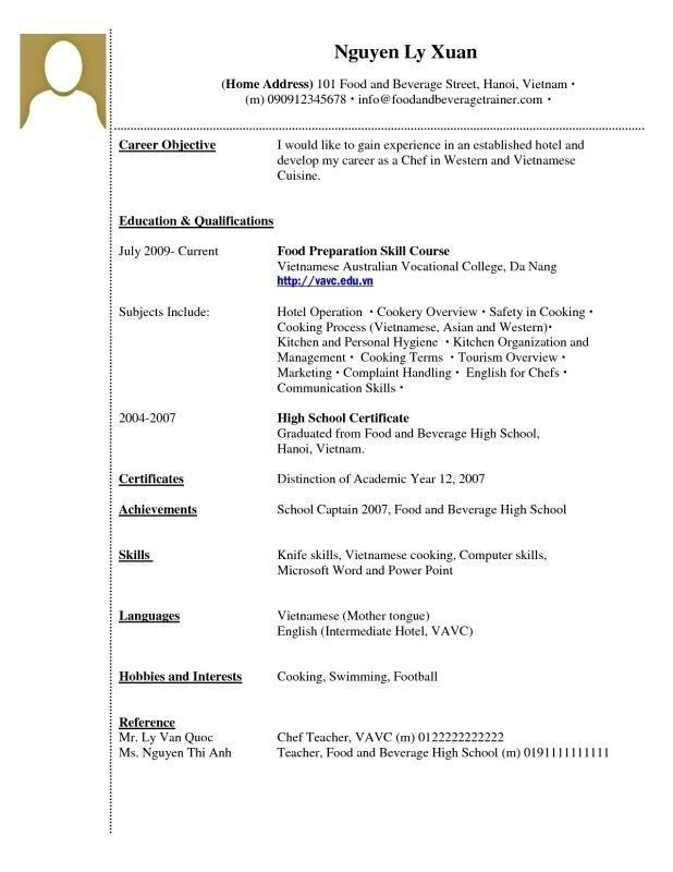Example Of A High School Resume No Experience. resume writing for ...