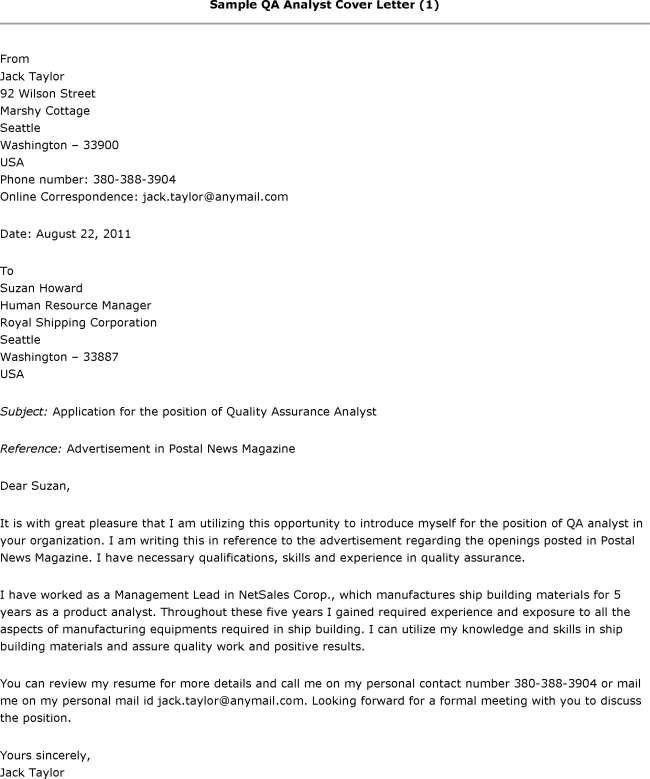 Sample Cover Letter Quality Assurance Manager 2017 - Isabelsodeman ...