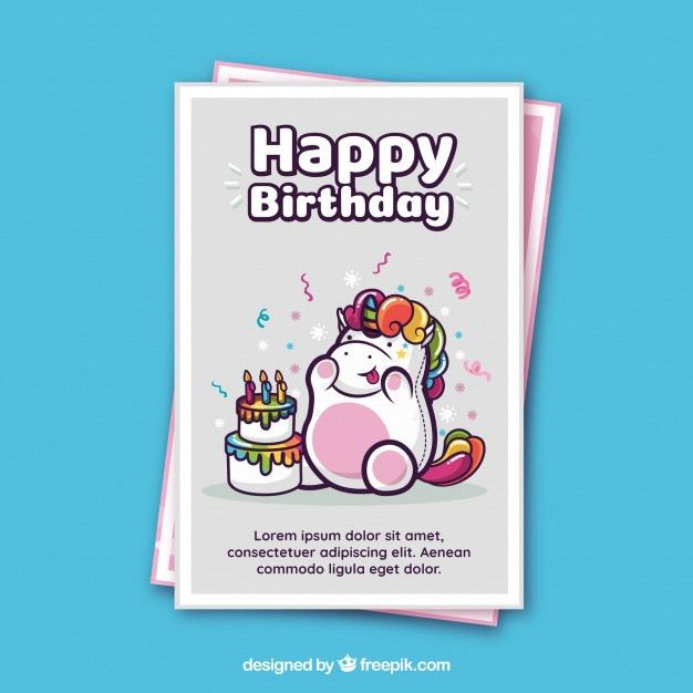 Birthday card template with a unicorn Vector | Free Download