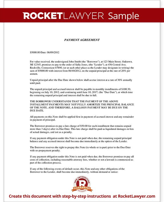 Installment Agreement - Payment Agreement Contract - Letter Template