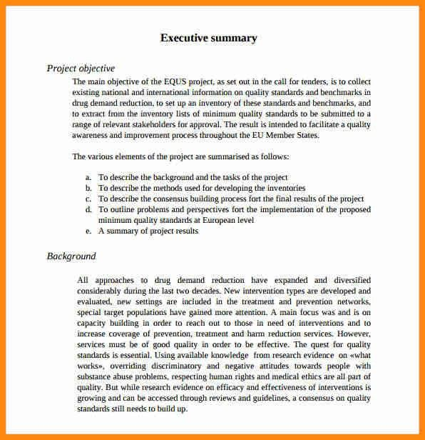 9+ project executive summary example   model resumed
